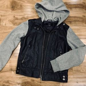 Faux Leather Zip Up Hoodie